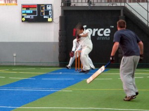 Dot finally arrived to bat for two overs at the end.
